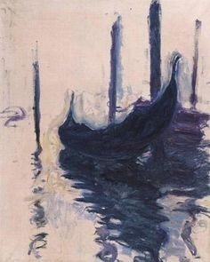 Gondole à Venise ~ This gondola is Monet's last sketch of Venice. He made it on the day he departed (December 3rd, 1908) and gave it to his friend Georges Clemenceau.