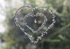 Large Clear Crystal and Pearl Heart | weddingsonline – weddingsonline shop