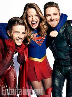 Barry and Oliver look like they're being forced into it. Kinda like 2 kids being made to take family pictures and Kara is that one sibling who's like yay! Pictures!
