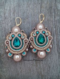 Bridal Beige Emerald Earrings - Statement Soutache Earrings - Hand Embroidered Soutache Jewelry - Be Soutache Earrings, Emerald Earrings, Etsy Earrings, Crystal Earrings, Statement Earrings, Beaded Necklace, Triangle Necklace, Geometric Necklace, Boho Jewelry