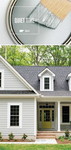 The light gray hue of Quiet Time by BEHR Paint looks just as good on the exterior of your house as it does on the interior. We love pairing this neutral shade with pops of bright accent colors to add a modern twist to a classic design scheme. Best Exterior Paint, Exterior Paint Colors For House, Paint Colors For Home, Exterior Colors, Exterior Design, Living Room Paint Colours, Bedroom Colors, Design Bedroom, Interior Design Minimalist
