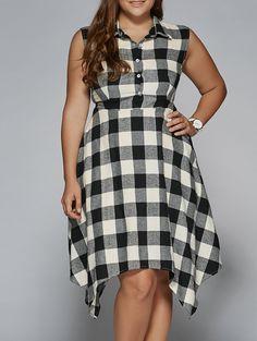 $13.59 Sleeveless Handkerchief Plaid Dress