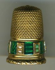 Antique French Gold Thimble with Enamel, Pearls, etc