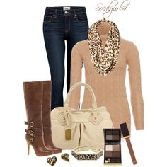 """""""Neutrals and Leopard accessories"""" by socalgurl4 on Polyvore (with a brown purse)"""