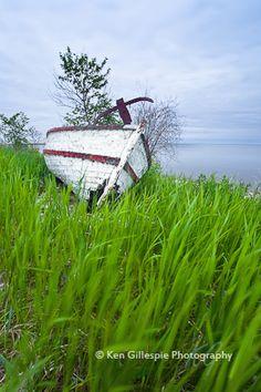 Abandoned boat, Lake Winnipeg, Hecla Island, Manitoba.