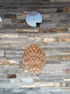 Reclaimed (pallet?) wood ceiling