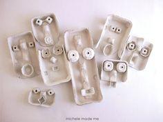 masques en boites d'oeufs. En lien avec le recyclage