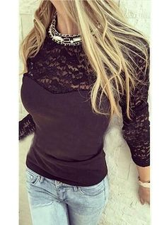 Blouse with Matching Lace Trim - Black