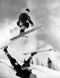 Ed Newell, chairman of the National Ski Club and the Olympic tryout committee, demonstrating a stunt on the slopes at Mount Rainier, in Washington State [March 5, 1935]