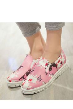 Pink Floral And Butterfly Platform Loafers