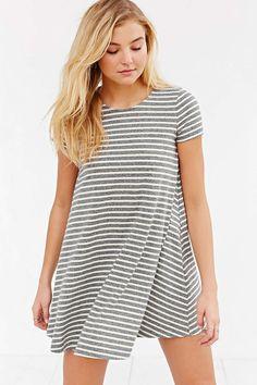 BDG Short-Sleeve Striped Swing Tee Dress