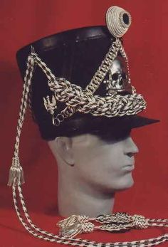 Replica Prussian Lieb Hussar Officer's uniform shako, circa 1813.