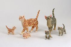 Dolls House cats and kittens in 12th scale. All hand made by Sarah Hendry.