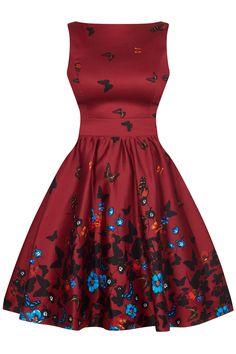 e1c6951a59c Vínové retro šaty s motýlky Lady V London Tea