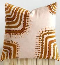 Aztec House | Brad Turner x Aztec House cushion | Indigenous Art cushion Cushions For Sale, Boho Cushions, Custom Cushions, Orange Pillows, African Mud Cloth, Silk Pillow, Indigenous Art, Cross Designs, Cotton Lights