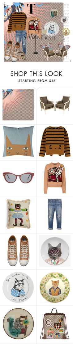 """""""No, Catherine, you may not."""" by polka-phase ❤ liked on Polyvore featuring Gucci, Donna Wilson, Valentino, Dolce&Gabbana, New World Arts, Gap, Jimbobart, polyvorecontest and felinefashion"""