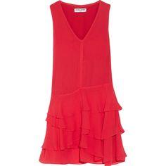 Opening Ceremony Mercer ruffled crinkled silk-chiffon mini dress (1.460 BRL) ❤ liked on Polyvore featuring dresses, short dresses, red dress, short red dress, red turtleneck and short flare dress