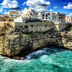 Polignano a Mare - Italy #polignanoamare #italy #italia #italien #europe #rocks #view #ocean #sea #cliffs #town #nature #landscape #travelpics #travelphotography #traveltheworld #travelling #traveling #travel #tourism #vacation #holiday #urlaub #reisen