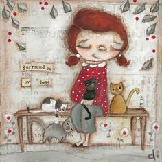 Original Folk Art Mixed Media Cat Lady Painting on Wood - Surrounded by Love
