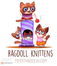 Daily Paint Ragdoll Knittens by Cryptid-Creations on DeviantArt Cute Animal Drawings, Cute Drawings, Cartoon Art, Cute Cartoon, Chibi, Animal Puns, Pokemon, Cute Disney, Cute Illustration