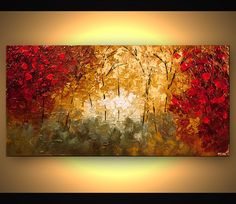 Prints painting - textured abstract landscape blooming tree ...