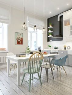 We all know Amazing Home design is really suitable for our Home. You can learn from our article (Modern Dining Room Designs Combined With Scandinavian Style Brings An Aesthetic View) and get some ideas for your Home design. Scandinavian Kitchen, Scandinavian Style, Scandinavian Interior, Dining Room Sets, Dining Room Design, Dining Area, Casa Hipster, Kitchen Interior, Kitchen Decor