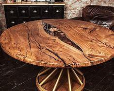 custom order for elizabet from US - Live edge tables etc - Resin Wood Wood Slab Table, Wooden Dining Table Designs, Round Wood Table, Epoxy Wood Table, Walnut Table, Wooden Dining Tables, Dining Room Table, Pedestal Tables, Live Edge Furniture