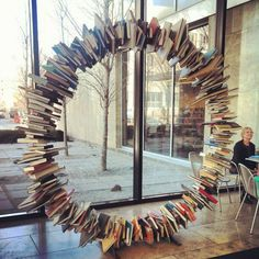 Books in a circle at the Kansas City Public Library. I hate the thought of the books being impaled, but it's so darn cool! Interior Design Exhibition, Serin, Library Ideas, Aster, Libraries, Kansas City, Eye Candy, Places To Visit, Public