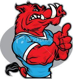 Razorback Drawings | Razorback One Royalty Free Stock Vector Art Illustration Arkansas Razorbacks Football, Football Tattoo, Hunting Decal, Sak Yant Tattoo, Airbrush Designs, Cow Painting, Mascot Design, Nose Art, Animal Logo