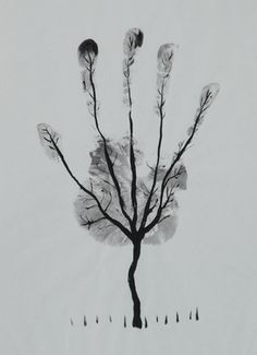 "Saatchi Art Artist Ahmed Al Safi; Drawing, ""Man's Hand Tree! "" #art  listed at $650, oh my!  Fun to do one for each season.....wonder what the price would be on that!"
