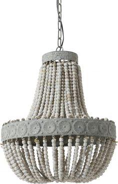 Hängelampe Luna - Perlen - Alt Weiß - Light & Living