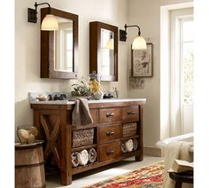 Benchwright Double Sink Console - Rustic Mahogany Finish | Pottery ...