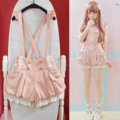 Japanese sweet lace lanterns straps shorts