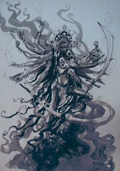 Kali, The goddess of destruction Kali Goddess, Indian Goddess, Goddess Of Destruction, Kali Tattoo, Kali Mata, Geniale Tattoos, Sacred Feminine, Hindu Deities, Hindu Art