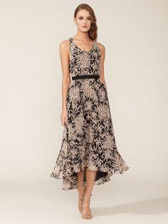 Halston Heritage Silk Shadow Garden Belted Dress