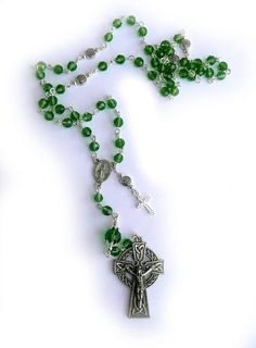 Genuine Green Austrian Crystal Pewter Celtic Miraculous Irish Rosary