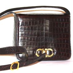 Vintage Ferragamo Gancini Shoulder Bag Crossbody Shoulder bag Box Purse at BudgetLuxuries, $99, Price includes USA shipping- Dark Brown shimmering embossed reptile print leather from Italy! I got this in the early 1990s, and now it is time to pass it to a new loving home. MANY more cool pieces coming to Etsy soon!