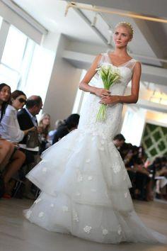 Oscar de la Renta flamenco style wedding dress