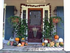 This gallery might help you get some cool ideas to decorate your front porch for Fall. Wreaths, pumpkins, leaves, twigs and many other things. Fall Door Decorations, Thanksgiving Decorations, Pinecone Garland, Porch Decorating, Decorating Ideas, Holiday Decorating, Decor Ideas, Fall Harvest, Harvest Time