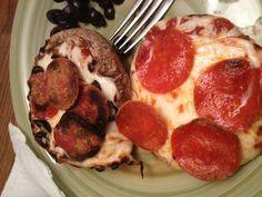 Pizza portabella mushrooms