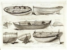 Jolly boat for oars or sail. River Thames fishing or Peter Boat; A ship's Long Boat - Arthur Pollard - National Maritime Museum Old Boats, Small Boats, Boat Building Plans, Boat Plans, Boat Drawing, Drawing Sheet, Boat Illustration, Plywood Boat, Vintage Boats