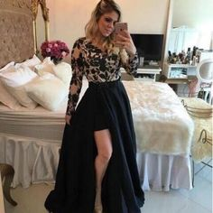 Prom Dress Long Sleeve Black and Gold
