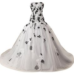TopPromDress New Designed Black And White Floral Lace Trailing Wedding Gown   Smart Pinner