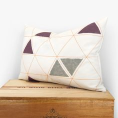 12x18 Geometric pillow cover - Hand printed pillow - Minimalist - Tangerine, grey, plum and white triangles pattern - Lumbar pillow case