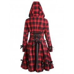 Plaid Button Up Hooded Skirted Coat