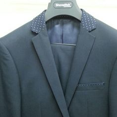New men's suit Beautiful navy blue suit with a polka dot trim on collar and top of breast pkt.  Slim fit jacket/pant, modern and very relevant in today's men's market. Shoreditch Jackets & Coats