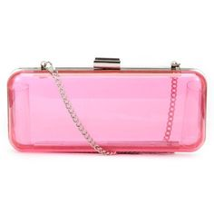 Pink Perspex Hard Box Clutch ($20) ❤ liked on Polyvore