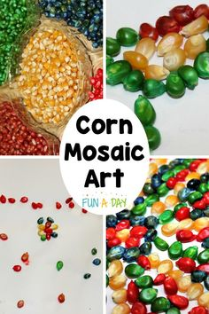 Use dyed corn to make colorful corn mosaic art this fall! It's a great process art activity for Thanksgiving or anytime during the autumn. There's even instructions on how to dye the corn - learn from my mistakes! This activity is perfect for preschool or kindergarten and really works fine motor and creativity muscles. Diy Crafts For Kids Easy, Preschool Arts And Crafts, Creative Arts And Crafts, Creative Kids, Thanksgiving Art Projects, Thanksgiving Preschool, Fall Preschool, Harvest Crafts, Autumn Crafts