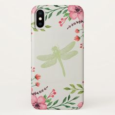 Painted Flowers With Green Stamped Dragonfly iPhone Case - simple gifts custom gift idea customize
