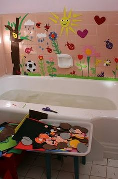 Why didn't I think of that?!?! Just regular craft foam for bath time... just the plain cheak kind that I get at the Dollar Tree.